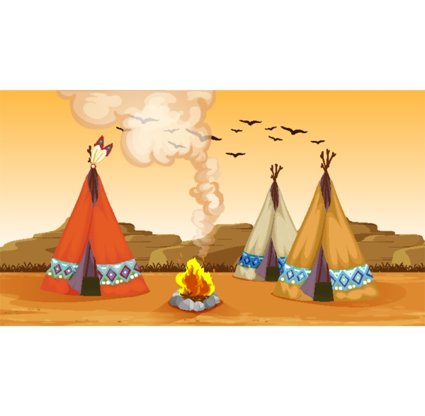 scene with campfire and tents in