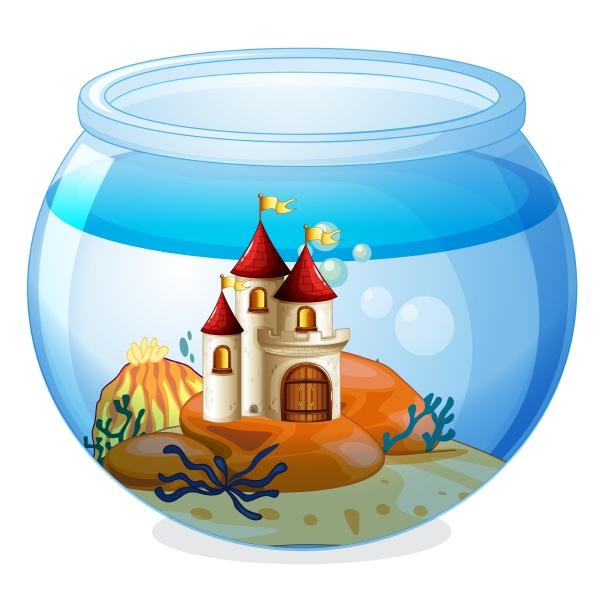 an aquarium with a castle