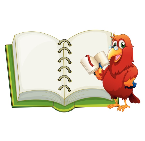 a parrot and an empty notebook
