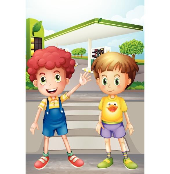 two little boys near the gasoline