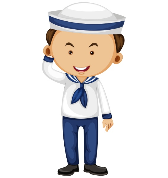 sailor in white and blue outfit