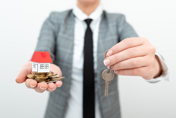 real estate agent selling new property