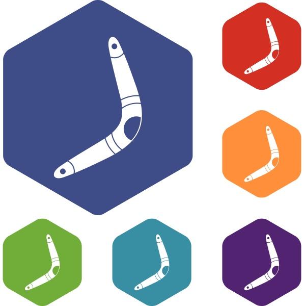 boomerang icons set hexagon
