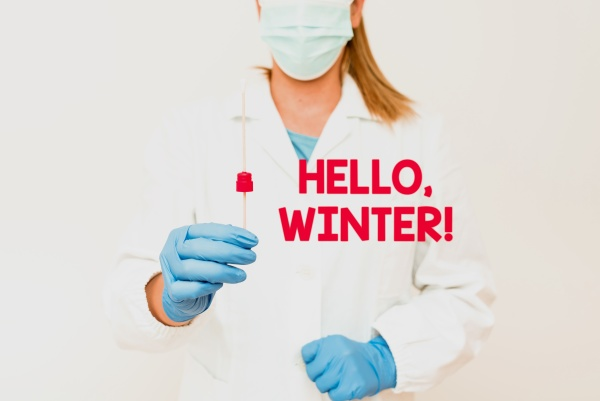 hand writing sign hello winter business
