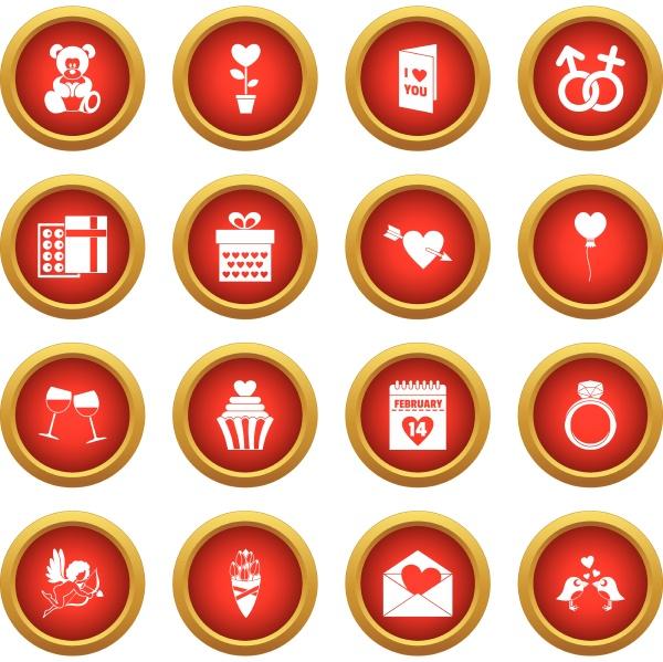 saint valentine icon red circle set