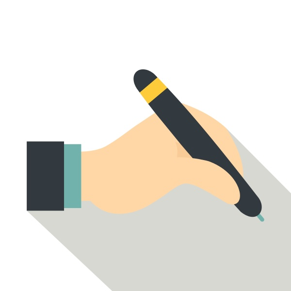 hand holding black pen icon flat
