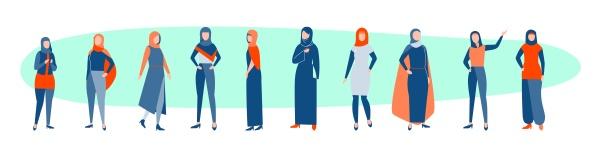 set of arabic women concept
