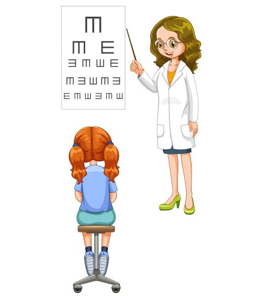 girl having her eyes checked