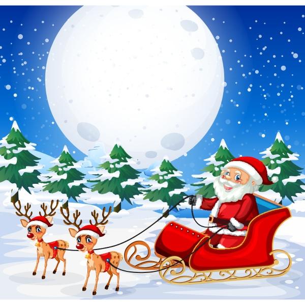 santa riding sleigh outdoor