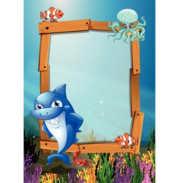 frame design with fish underwater
