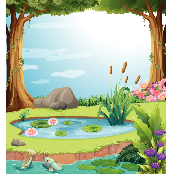 forest scene with fish in the