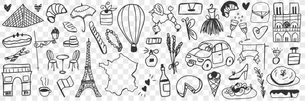 various french symbols doodle set