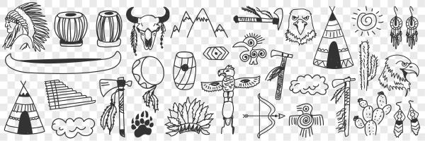 indian tribe symbols doodle set