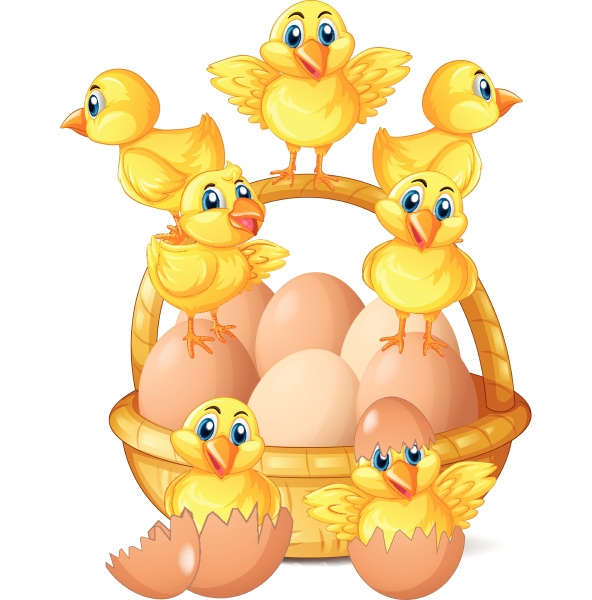 little chicks and eggs in basket