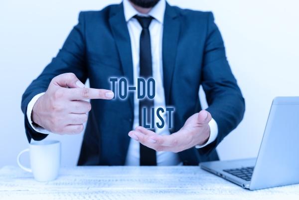 conceptual display to do list business