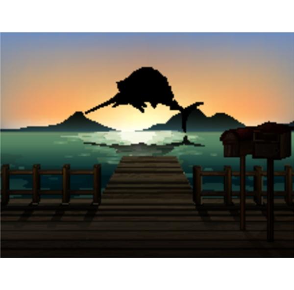 marlin fish in nature scene silhouette