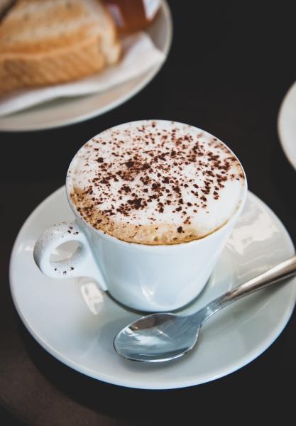 hot mocha coffee with milk foam