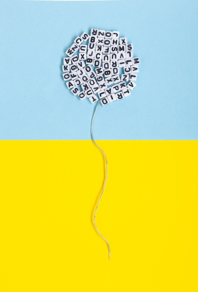balloon made of letters on a