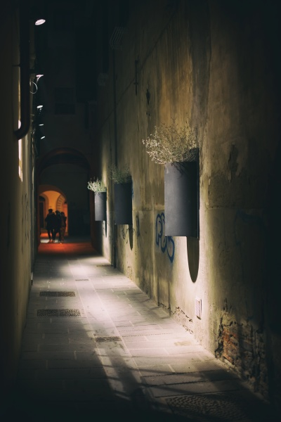 night photo of a city alley