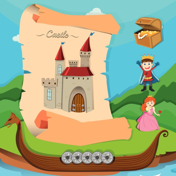 fairytale theme with castle and characters