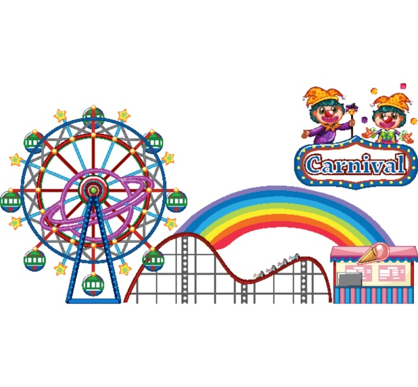 carnival with rides and vendor on