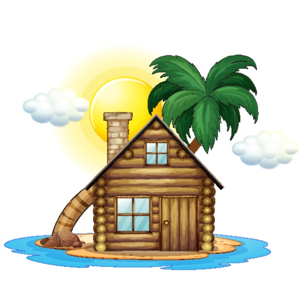 wooden cottage on island