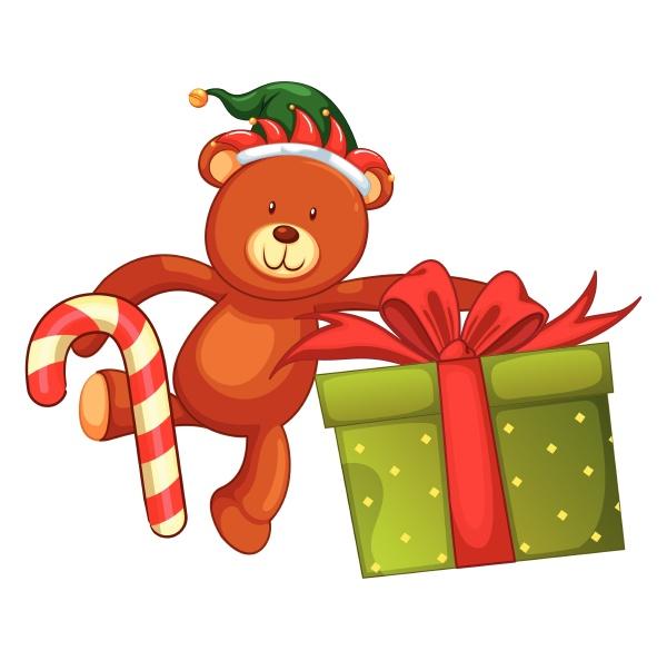 teddy bear and christmas present