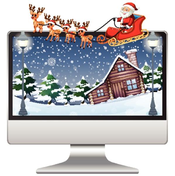 computer with xmas theme desktop background