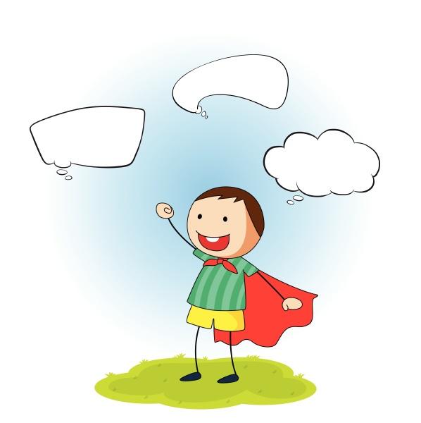 boy with cape speech bubbles