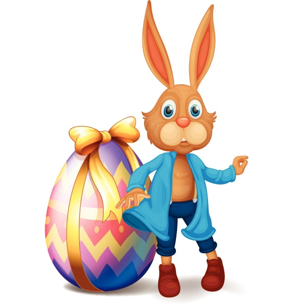 brown bunny and easter egg