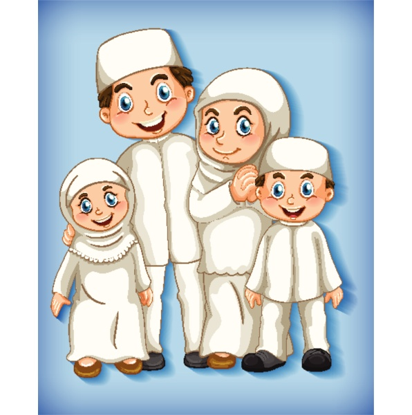 muslim family member on cartoon character