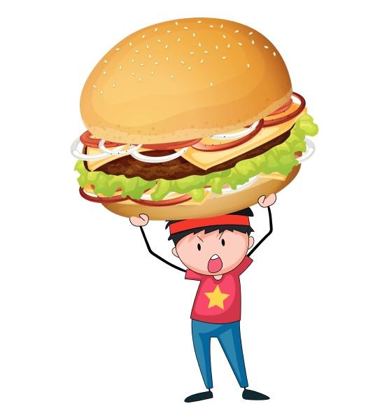 man holding giant hamburger
