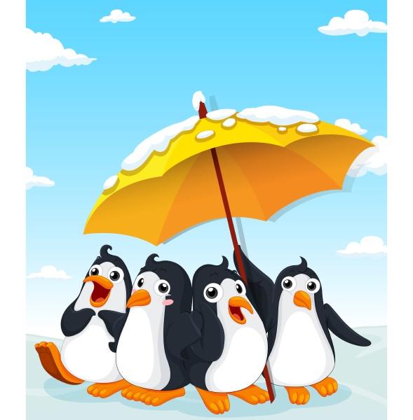 penguins standing under umbrella