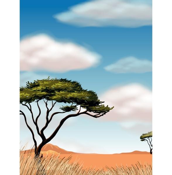 scene with tree in the desert