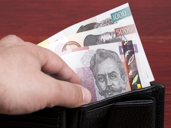 slovenian money in the black wallet