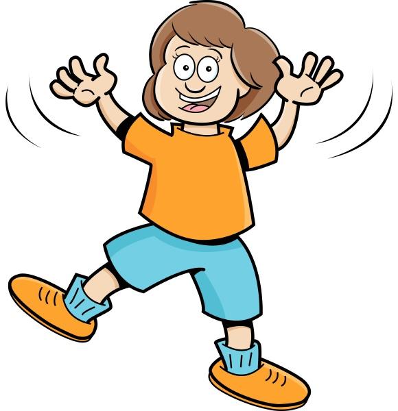 cartoon illustration of a girl jumping