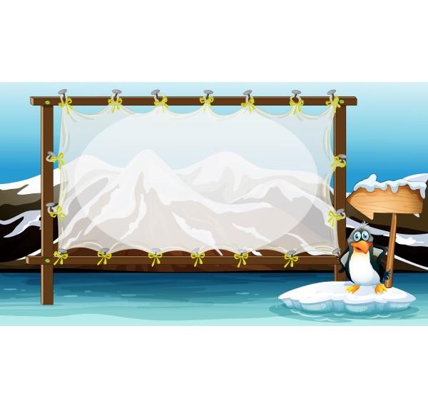 frame design with penguin on iceberg
