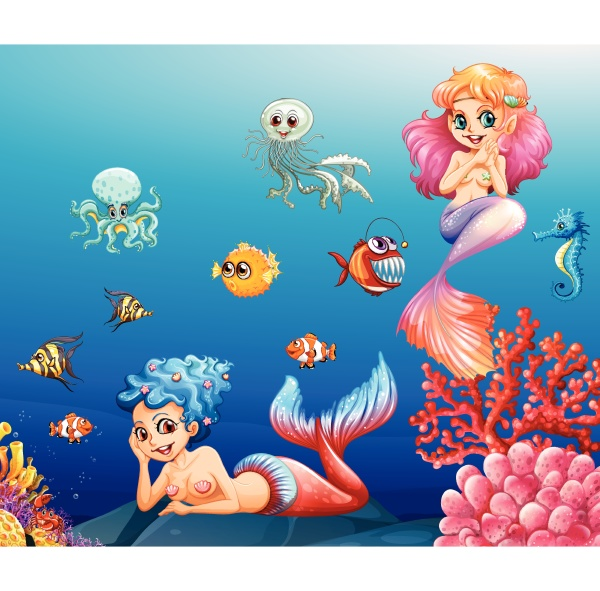 two beautiful mermaids and sea animals