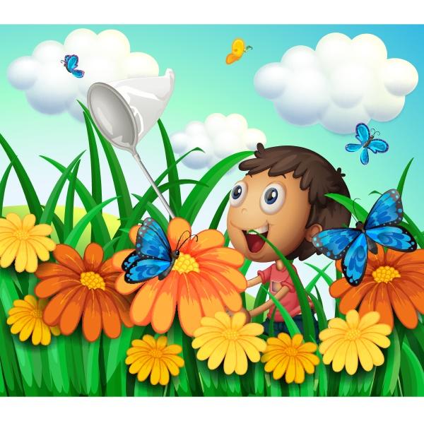 a boy catching butterflies at the
