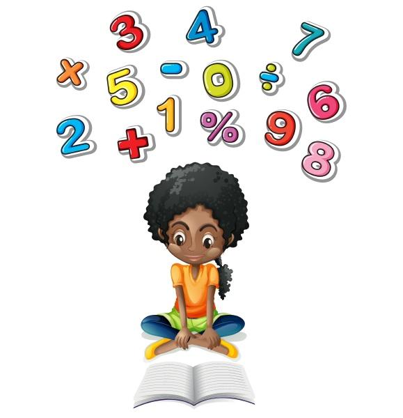 little girl studying math