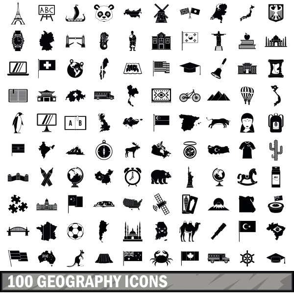 100 geography icons set simple