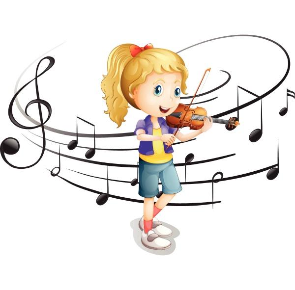 little girl plays violin