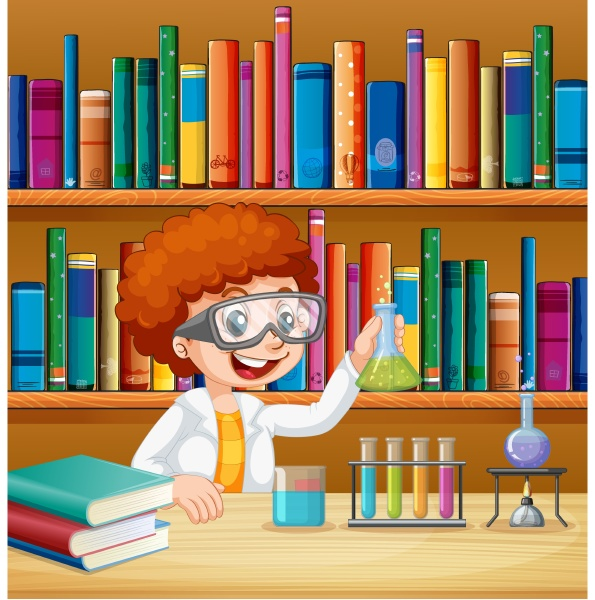 boy in science lab with books