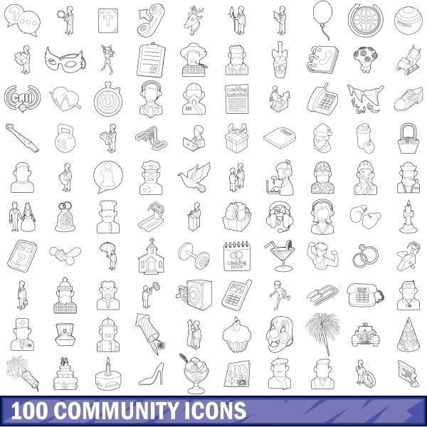 100 community cloud icons set outline