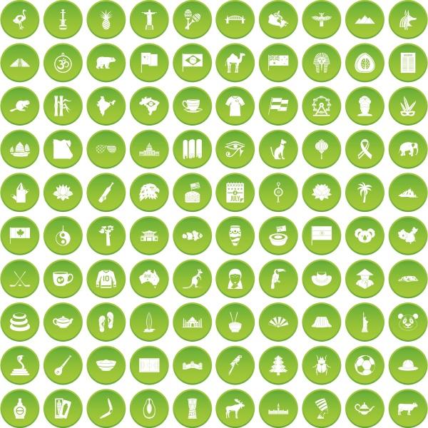 100 landmarks icons set green circle