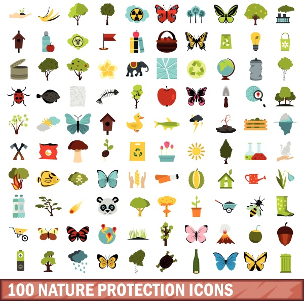 100 nature protection icons set
