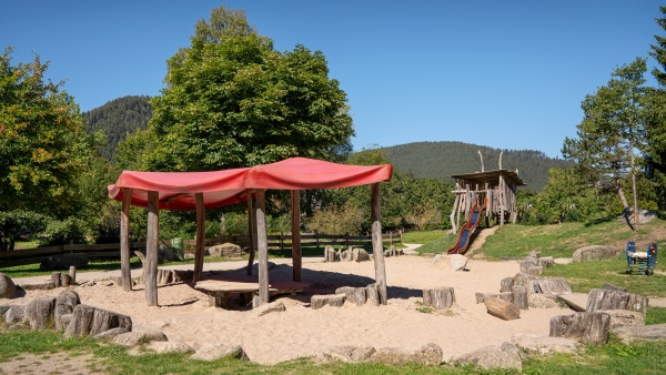 playground in the park with textile