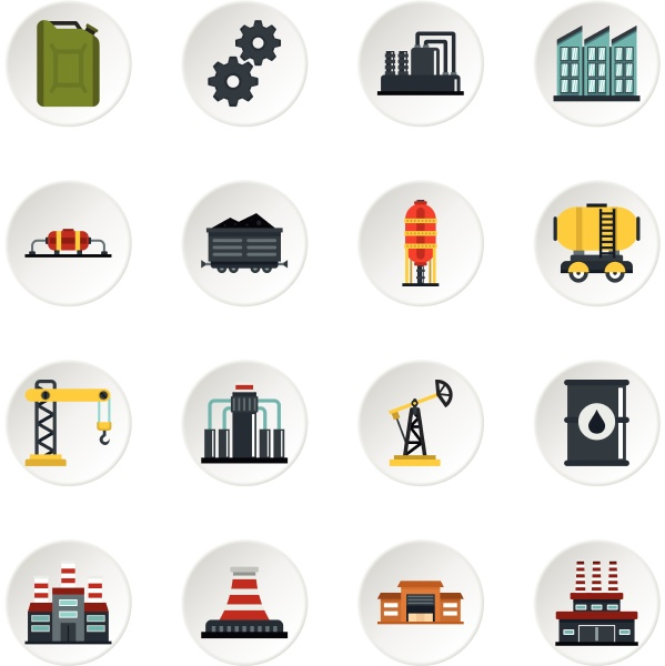 industry set flat icons