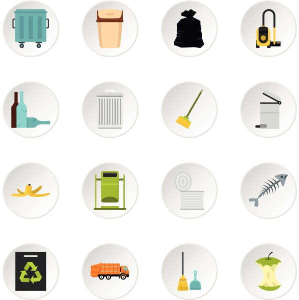 garbage thing set flat icons