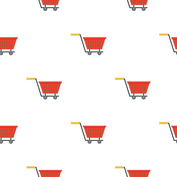 red plastic shopping basket on wheels